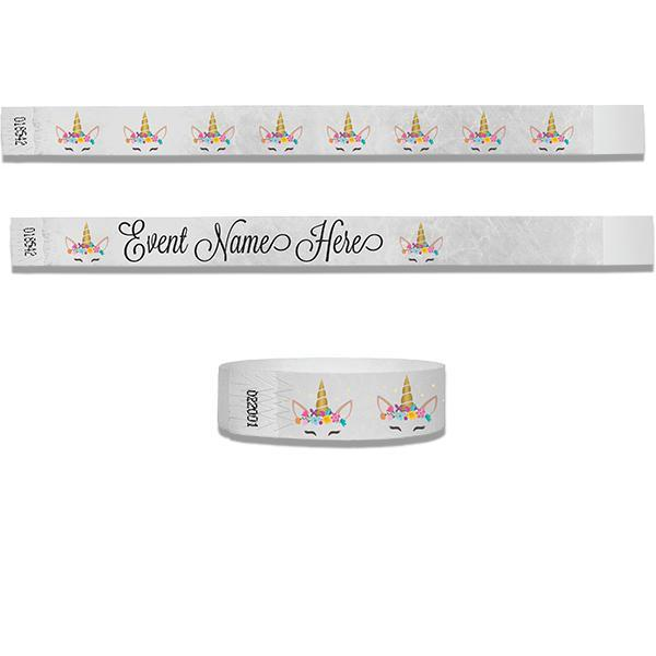 3/4 Tyvek  Cute Unicorn Full Color Wristbands