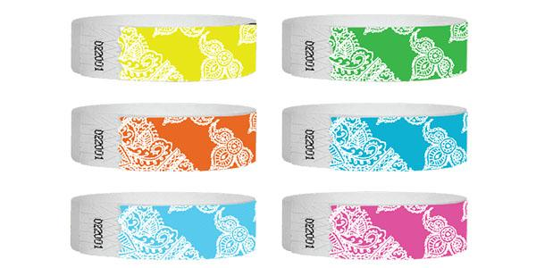 Customizable 3/4 Tyvek Wristband Design Henna