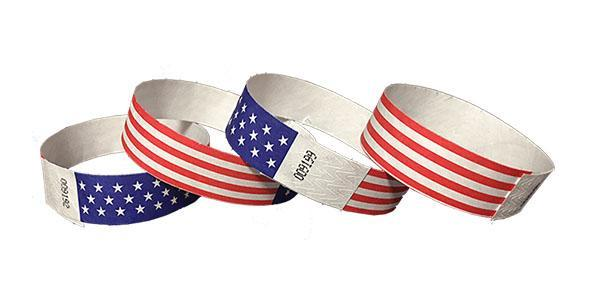 Customized 3/4 Tyvek Wristband Design American Flag