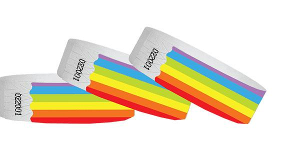 Customized 3/4 Tyvek Wristband Design Rainbow No Numbers