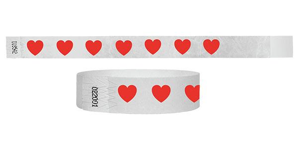 Customized 3/4 Tyvek Wristband Hearts