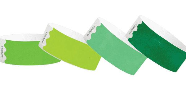 Customized Green 1inch Tyvek Paper Wristbands