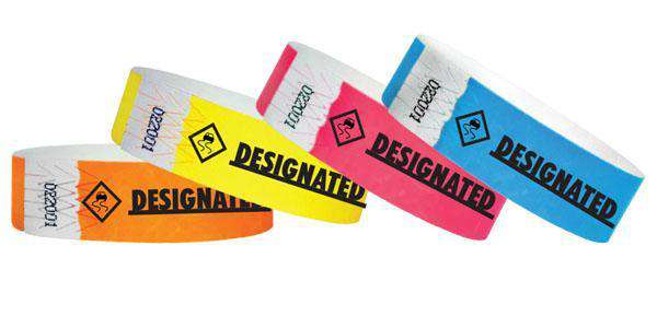 "3/4""  Tyvek  Designated Driver Wristbands"