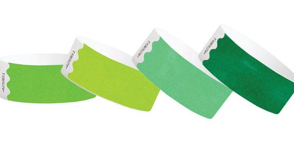 Green 1inch Tyvek Paper Wristbands