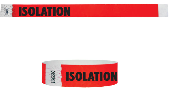 "3/4"" Medical Alert ISOLATION Tyvek Wristbands"
