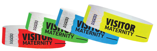 "3/4"" Maternity Visitor Tyvek Wristbands"