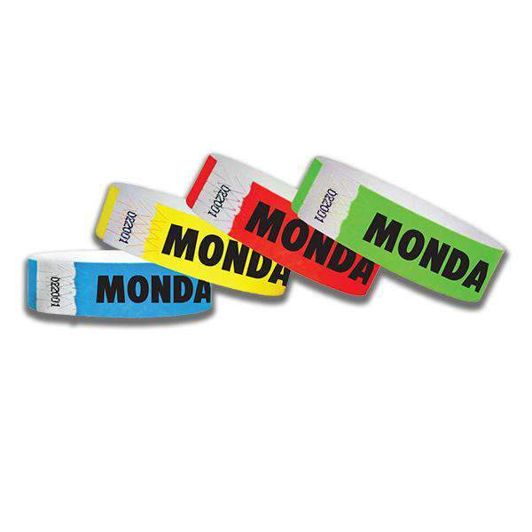 3/4  Monday Tyvek Wristbands