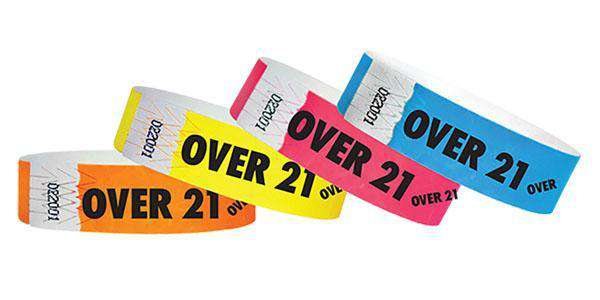 "3/4"" Standard Wristbands OVER 21 Sale"