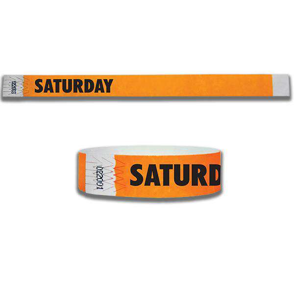 3/4  Saturday Tyvek Wristbands