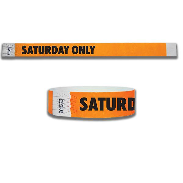 3/4  Saturday Only  Tyvek Wristbands