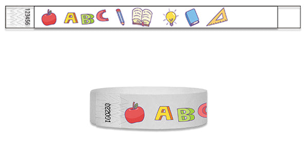 3/4   School Fun Full Color Wristbands