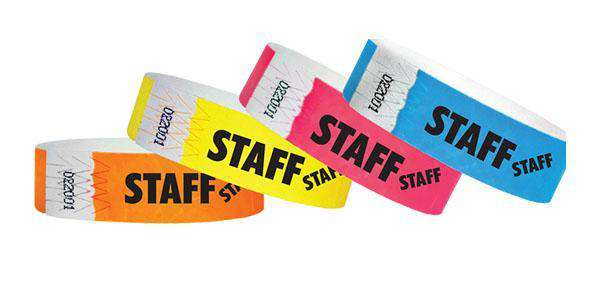 "3/4"" Standard Wristbands STAFF"