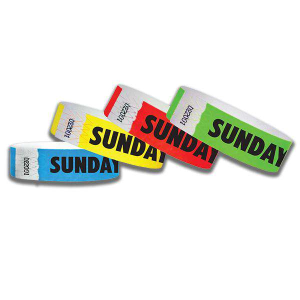 3/4  Sunday  Tyvek Wristbands