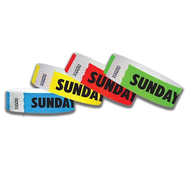 3/4  Sunday Only  Tyvek Wristbands