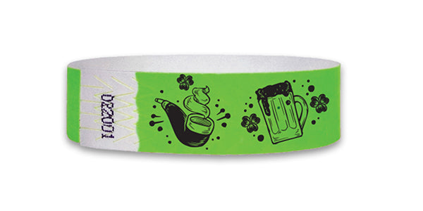 3/4  St Patrick's Day Lucky Icons Wristbands