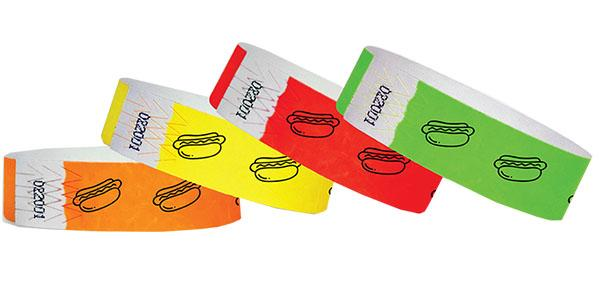 "3/4"" Standard Wristbands Food HOT DOGS"