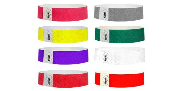 "3/4"" Standard Wristbands Solid Colors 200 Count with Print"