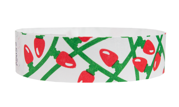 "3/4"" Xmas Lights Tyvek Wristbands"