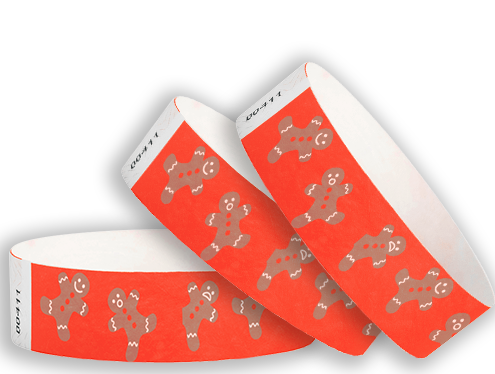 "3/4"" Gingerbread Men Tyvek Wristbands"