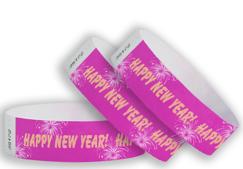 "3/4"" New Year Fireworks Tyvek Wristbands"