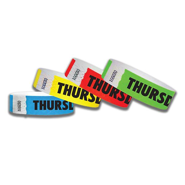 3/4  Thursday Tyvek Wristbands