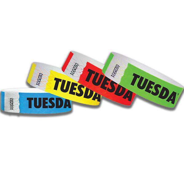 3/4  Tuesday Tyvek Wristbands