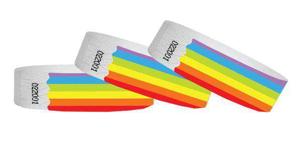 3/4 Tyvek Wristband Design Rainbow No Numbers