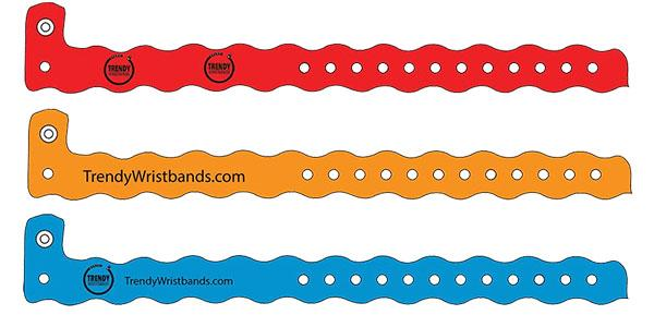 Vinyl Wristbands Wavy Solid Colors ON SALE