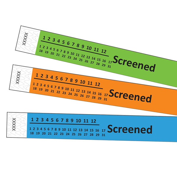 "3/4"" Covid-19 Screened Tyvek Wristbands"