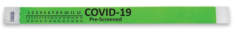 "3/4"" Covid-19 Pre-Screened Tyvek Wristbands"