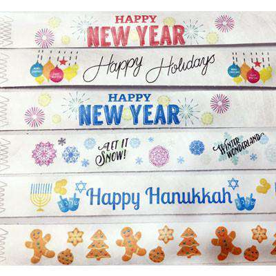 Holiday Wristbands, print in full color.