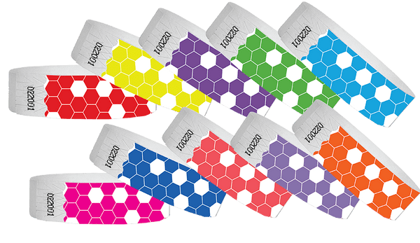 3/4 Tyvek Wristband Design HoneyComb