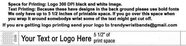 Printing on designs wristbands. We always recommend bolder fonts when printing on bands that have a design.
