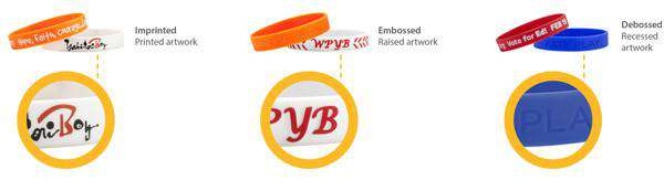 Examples of printing on silicone wristbands.