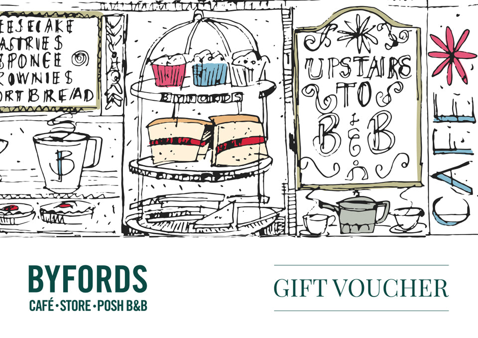 Byfords gift voucher- spend over £25 for a Golden Ticket!