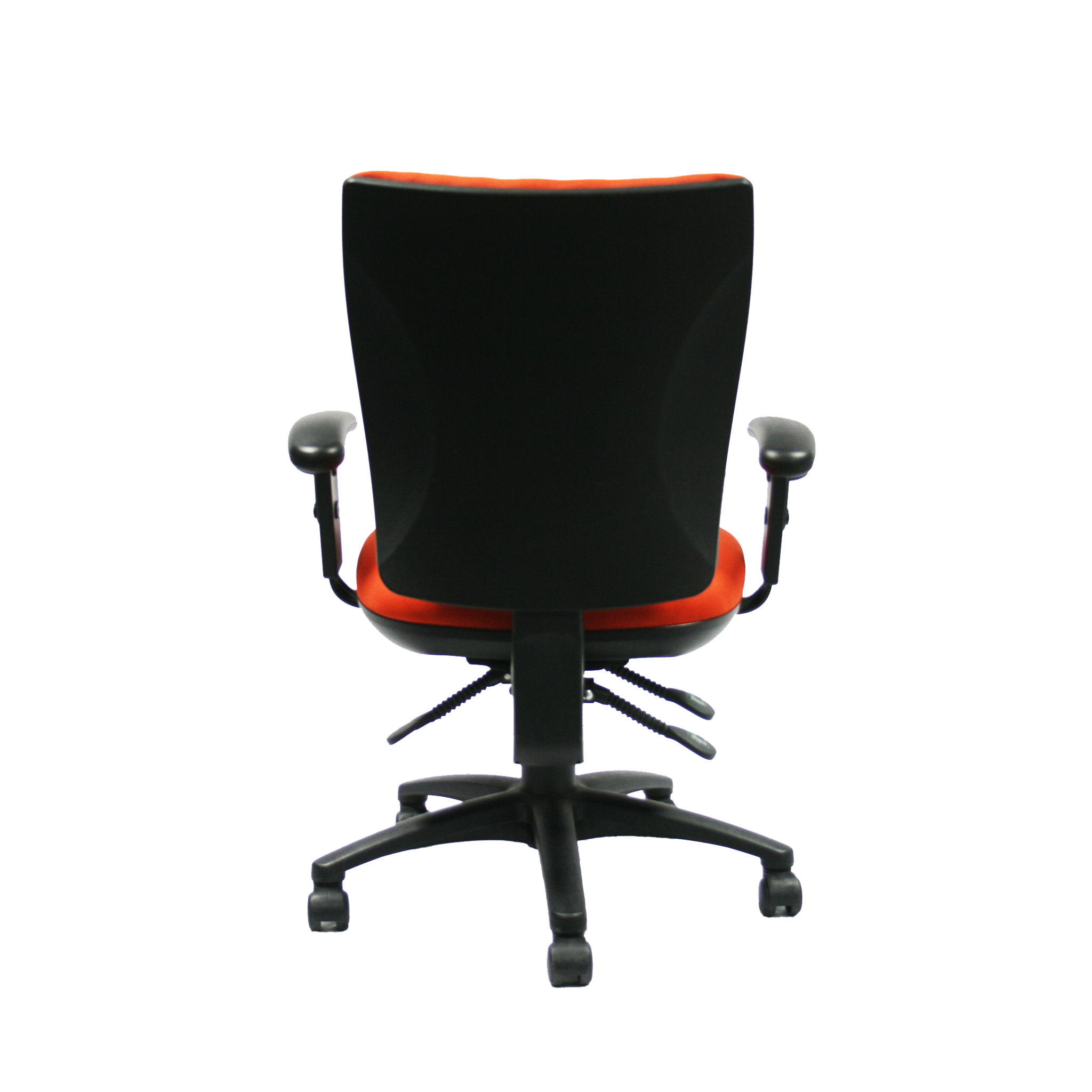 TAN Office Chair With Adjustable Arms Back View