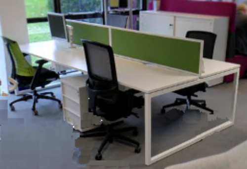 Nova 4 Person White Bench Desk Set Ex Showroom 1 Available
