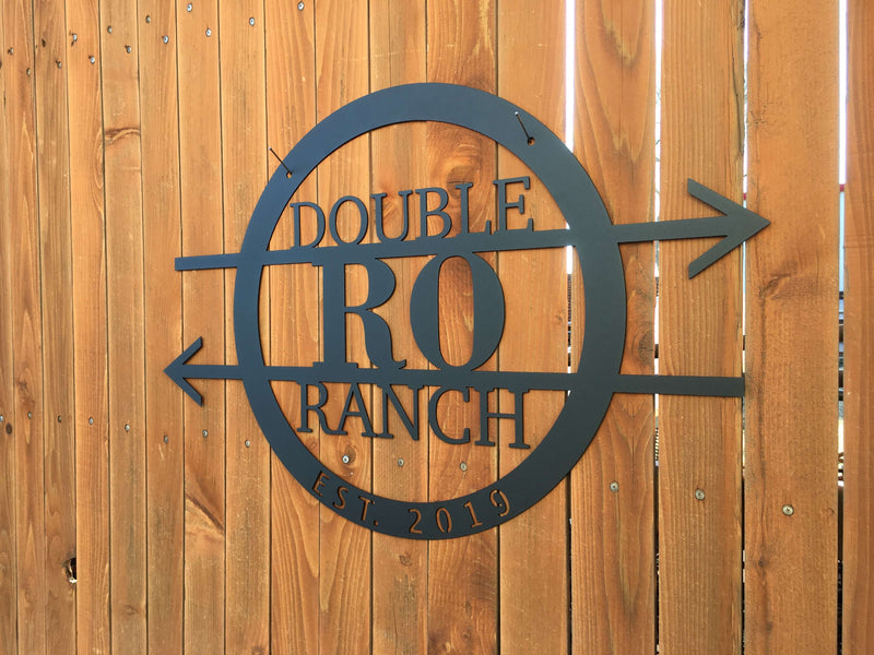 double RO ranch custom metal round sign