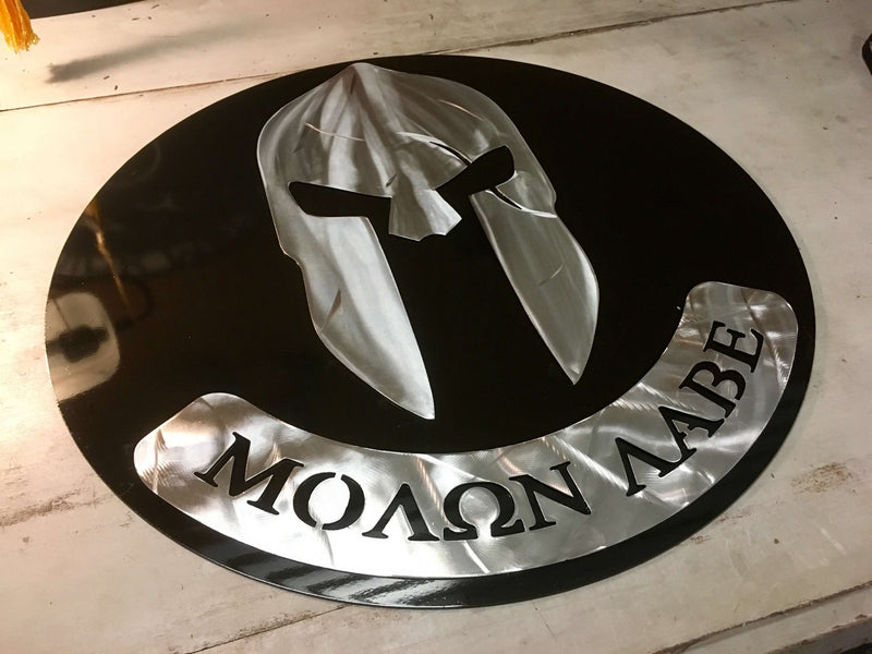 molon labe spartan helm military metal sign