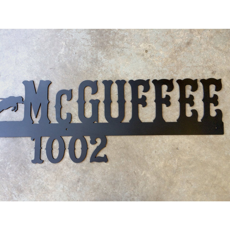 Roping Cowboy Address Marker | Custom Metal Sign | #1401