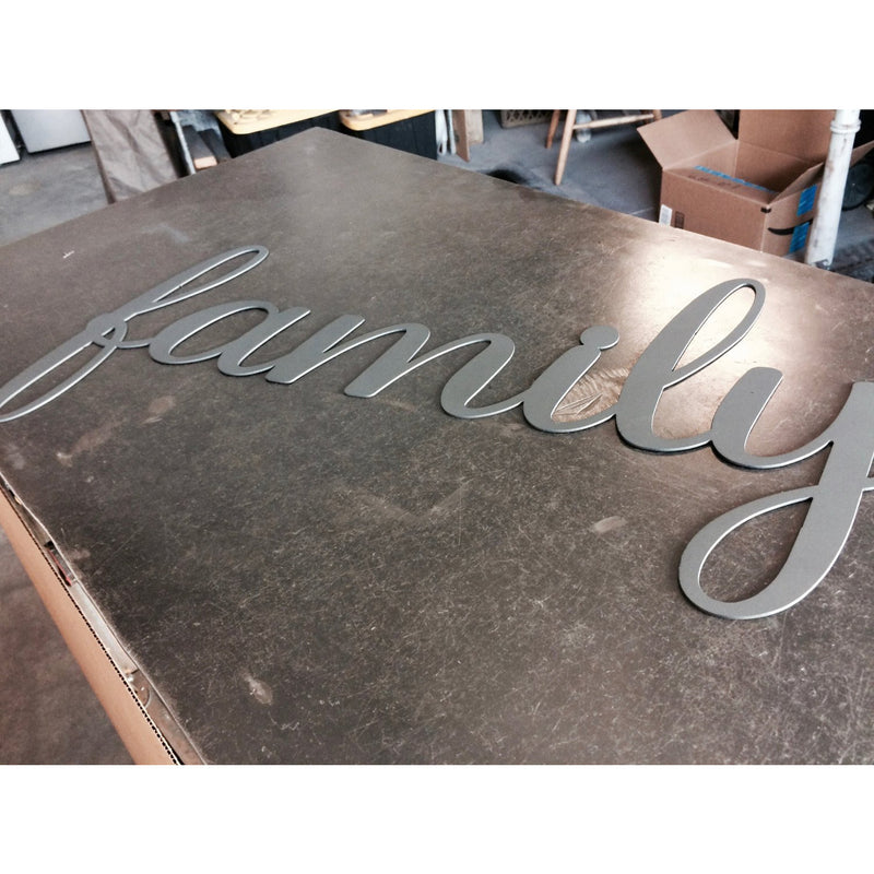 Family - Metal Lettering | Wall Art | Sign | Cursive Text | Steel Home Decor | Christmas Gift | Kitchen | Bedroom | Script | #4400