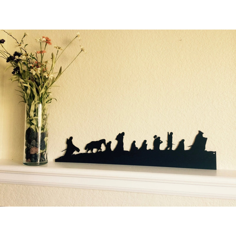 Lord of the Rings Fellowship Silhouette | Metal Wall Art | 23"