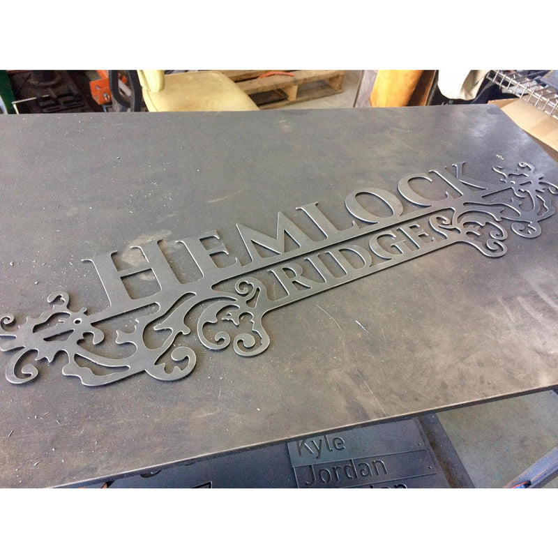Ornate Estate Sign | Custom Metal | Two Lines | #1334