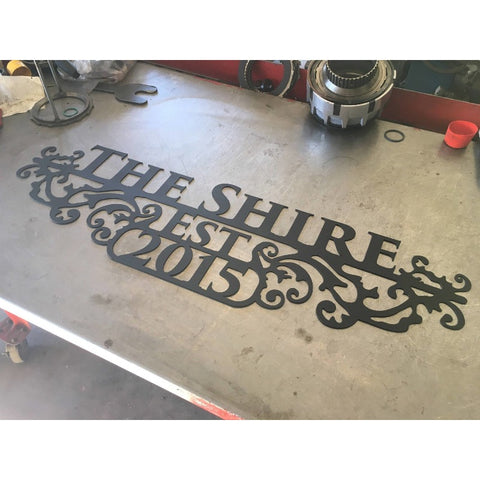 Ornate Estate Sign | Custom Metal | Three Lines | #1330