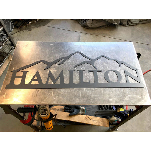 Mountains | Simple Name | Custom Metal Sign | #1002b