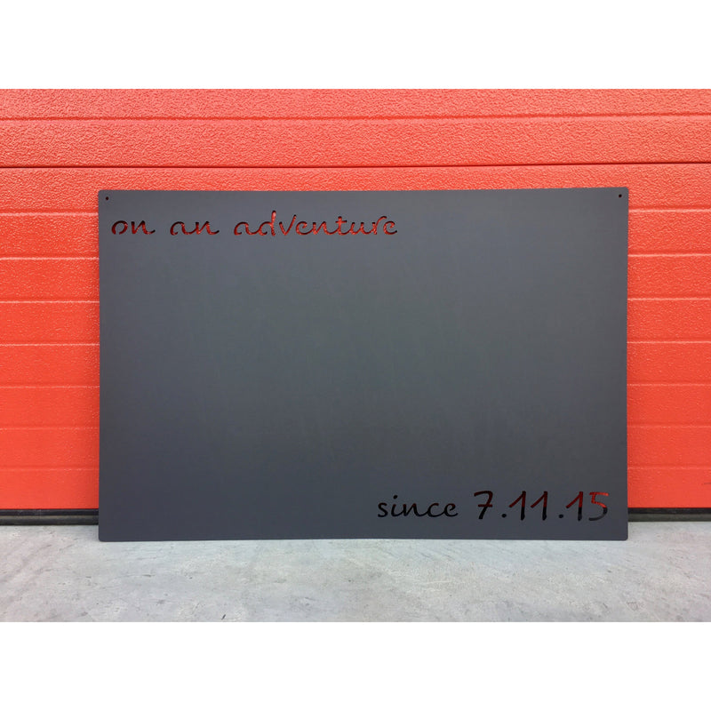 "On an Adventure | Custom Date | Metal Magnet Board | 26""x17"" 