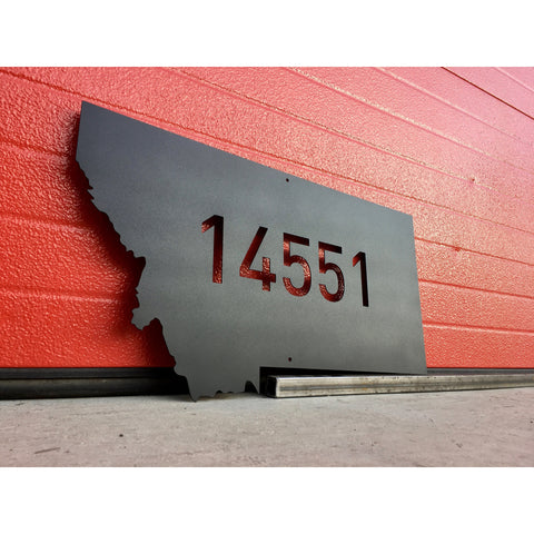 Metal State of Montana with Address | Custom Sign | Steel Wall Art | Man Cave | #1107