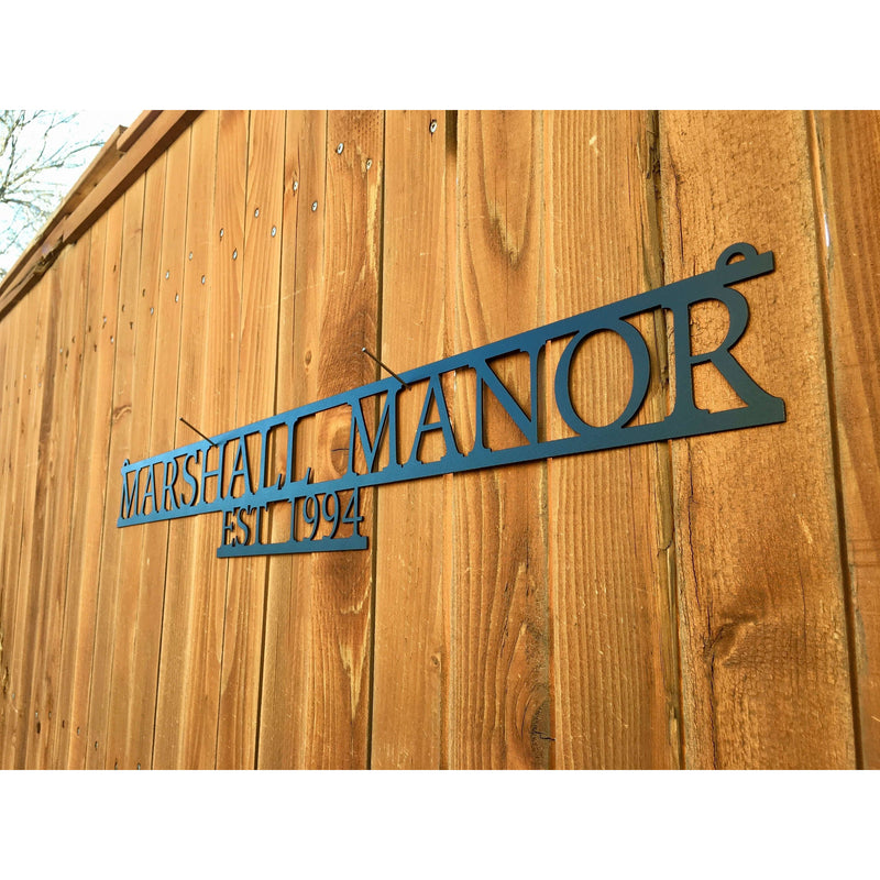 Custom Metal Name Sign - Metal Wall Art | Personalized | Last Name | Business Name | Custom Company | Welcome Home | Manor #2005