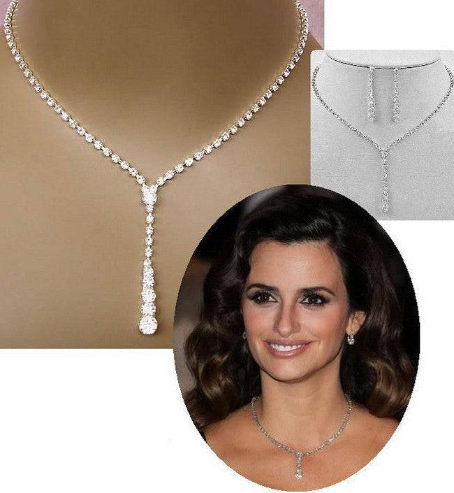 Crystal Tennis Drop Necklace Earrings Set Silver ★FREE★