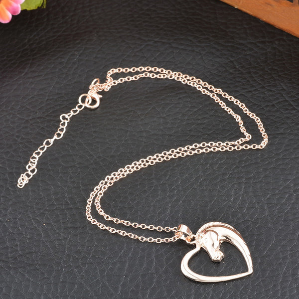 Horse in Heart Necklace For Horse Lovers ★FREE★